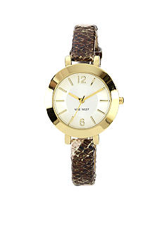 Nine West Gold Tone Snakeskin Strap Watch