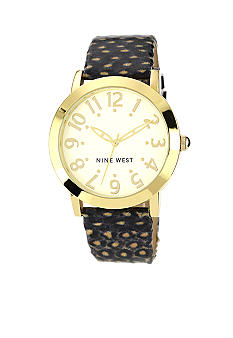 Nine West Gold Tone Modern Strap Watch