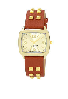 Nine West Gold Tone Case with Studded Strap Watch