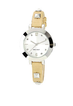 Nine West Silver Tone Round Case with natural Strap