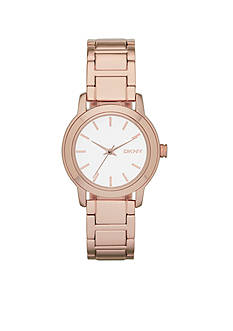 DKNY Women's Rose Gold-Tone Stainless Steel Three Hand Tompkins Watch