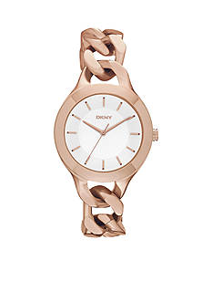 DKNY Women's Rose Gold-Tone Stainless Steel Chambers Three-Hand Watch