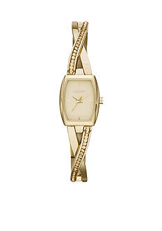 DKNY Women's Gold-Tone Stainless Steel Crosswalk Three-Hand Glitz Watch