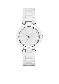 DKNY Stanhope White Ceramic Three-Hand Watch - Online Only