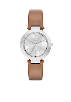 DKNY Stanhope Brown Leather Three-Hand Watch - Online Only