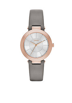 DKNY Stanhope Gray Leather Three-Hand Watch - Online Only