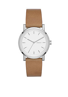 DKNY Brown Leather SOHO Three-Hand Watch