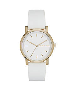 DKNY White Leather SOHO Three-Hand Watch