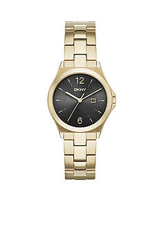 DKNY Women's Parsons Gold-Tone Stainless Steel 3-Hand With Date Watch