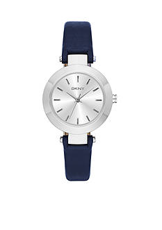 DKNY Women's Silver-Tone Stanhope Blue Leather Three-Hand Watch