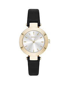 DKNY Women's Gold-Tone Stanhope Black Leather and Stainless Steel Three Hand Watch