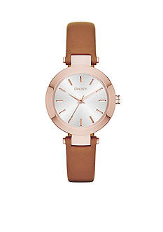 DKNY Women's Stanhope Brown Leather and Stainless Steel Three-Hand Watch
