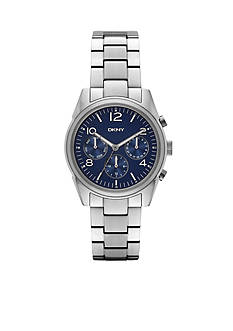 DKNY Women's Silver-Tone Crosby Dark Blue Dial Chronograph Watch