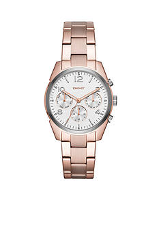 DKNY Women's Rose Gold-Tone Crosby Stainless Steel Chronograph Watch