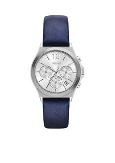 DKNY Women's Parsons Blue Leather Chronograph Watch
