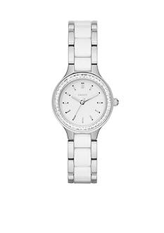 DKNY Women's Silver-Tone Chambers White Ceramic and Stainless Steel Three-Hand Watch