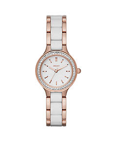 DKNY Women's Rose-Gold Tone Chambers White Ceramic and Stainless Steel Three-Hand Watch
