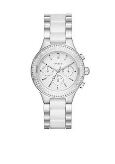DKNY Women's Silver-Tone Chambers White Ceramic and Stainless Steel Chronograph Watch