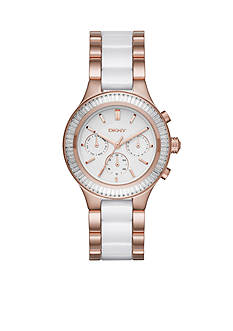 DKNY Women's Rose Gold-Tone Chambers White Ceramic and Stainless Steel Chronograph Watch