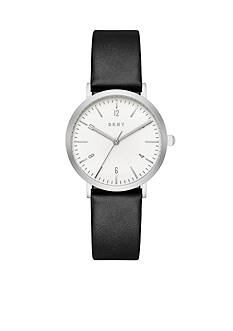 DKNY Women's Minetta Silver-Tone and Black Leather Three-Hand Watch
