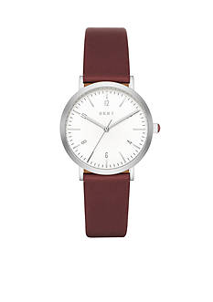 DKNY Women's Minetta Silver-Tone and Lacquer Leather Three-Hand Watch