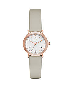 DKNY Women's Minetta Rose Gold-Tone and Plaster Leather Three-Hand Watch