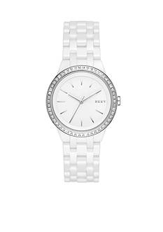 DKNY Women's Park Slope White Ceramic Three-Hand Watch