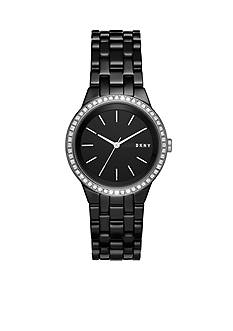 DKNY Women's Park Slope Black Ceramic Three-Hand Watch