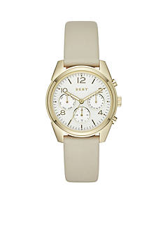 DKNY Women's Crosby Gold-Tone and Plaster Leather Chronograph Watch