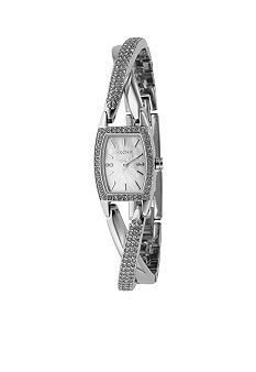 DKNY Silver Cross Over Bangle Bracelet Watch