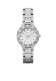 DKNY Ladies Stainless Steel Baguette Crystal Watch