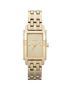 DKNY Ladies Rectangular Gold IP Stainless Steel Bracelet Watch