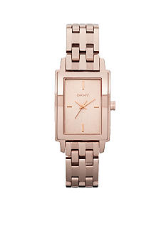 DKNY Ladies Rose Gold Tone Rectangular Park Avenue Watch