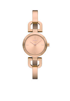 DKNY Ladies Rose-Gold Tone Round Bracelet Watch