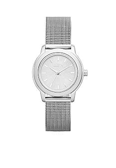 DKNY Ladies Silver Tone Round Dial with Mesh Bracelet Watch
