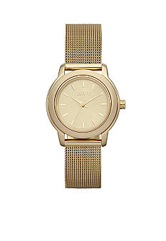 DKNY Ladies Gold Tone Stainless Steel Mesh Bracelet Park Avenue Watch