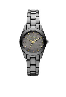 DKNY Ladies Gunmetal Stainless Steel Round Mother of Pearl Watch