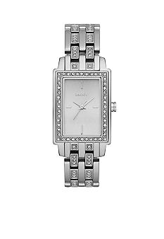 DKNY Ladies Silver Tone Stainless Steel Small Rectangular Glitz Watch