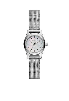 DKNY Ladies Silver Tone Broadway Round Mini Watch Mesh Bracelet