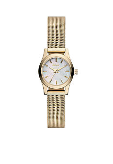 DKNY Ladies Gold Tone Broadway Round Mini Watch Mesh Bracelet