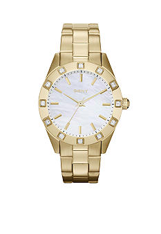 DKNY Ladies Gold Tone Stainless Steel Glitz Watch