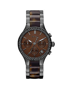DKNY Ladies Faux Tortoise and Smoke Round Glitz Chronograph Broadway Watch