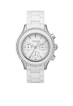 DKNY White Ceramic and Silver-Tone Stainless Steel Chronograph Watch