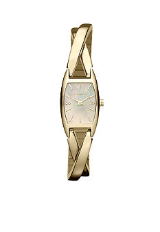 DKNY Ladies Gold Tone Stainless Steel Cross Over Mother of Pearl Dial Watch