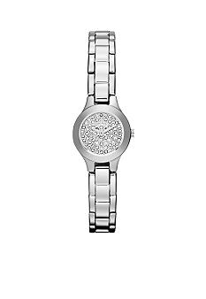 DKNY Mini Silver Tone Stainless Steel Three-Hand Glitz Watch