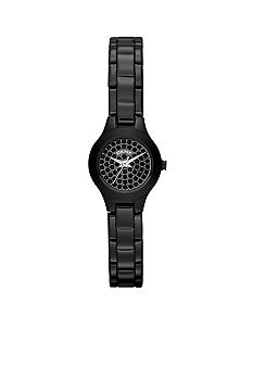 DKNY Mini Black Stainless Steel Three-Hand Glitz Watch