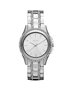 DKNY Ladies Silver Tone Stainless Steel 3 Hand Glitz Watch