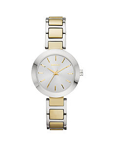 DKNY Silver-Tone and Gold-Tone Stainless Steel Three-Hand Watch