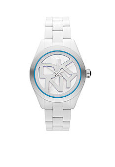 DKNY White and Blue Plastic Three-Hand Logo Watch