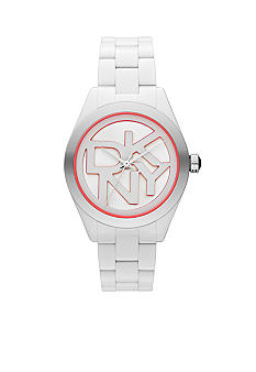 DKNY Ladies White and Coral Plastic Three-Hand Logo Watch